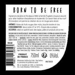 Contre-étiquette Born To Be Free rouge sans alcool